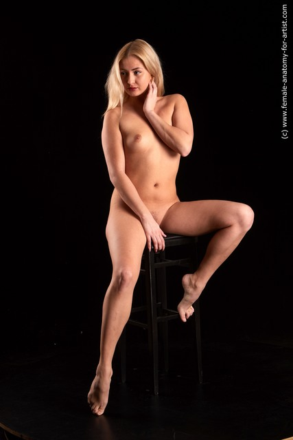 Nude Woman White Sitting poses - ALL Slim long blond Sitting poses - simple Standard Photoshoot