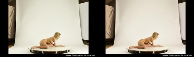 Nude Woman White Slim medium blond 3D Stereoscopic poses