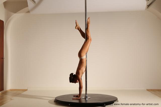 Nude Gymnastic poses Woman White Slim long brown Dancing Dynamic poses