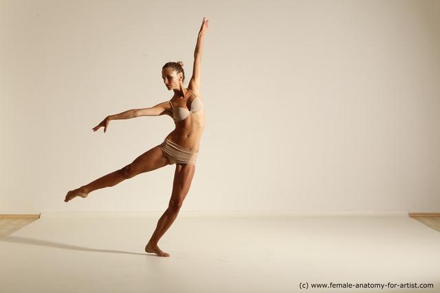 Underwear Gymnastic poses Woman White Slim long brown Dancing Dynamic poses