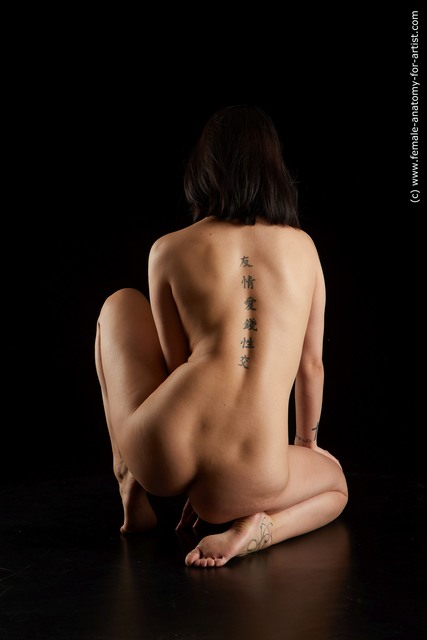 Nude Woman Asian Slim medium black Standard Photoshoot