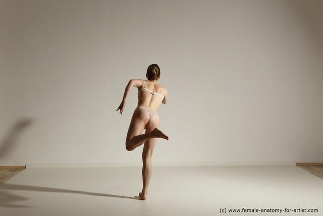 Underwear Woman White Slim medium blond Dynamic poses