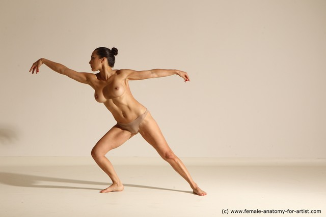 Nude Gymnastic poses Woman White Moving poses Slim long brown Dynamic poses