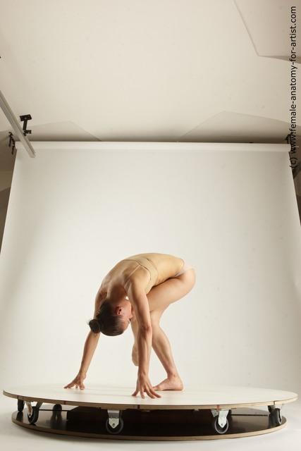 Underwear Woman White Slim long brown Multi angle poses