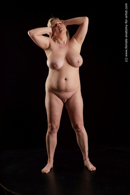Nude Woman White Standing poses - ALL medium blond Standing poses - simple Standard Photoshoot Chubby