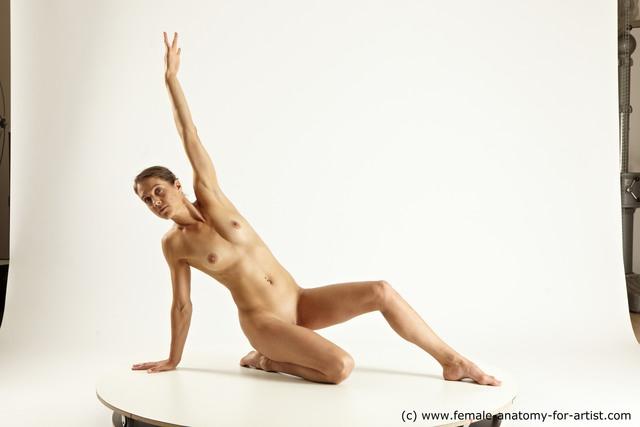 Nude Woman White Slim long brown Multi angle poses
