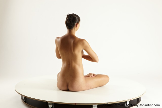 Nude Woman White Sitting poses - ALL Pregnant long brown Sitting poses - simple Multi angle poses