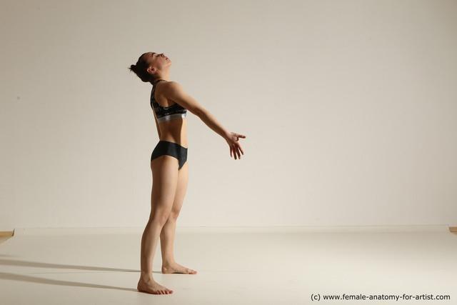 Underwear Woman White Slim long brown Dancing Dynamic poses