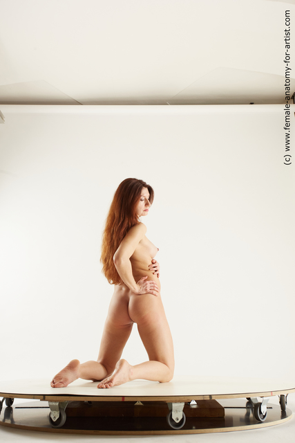 Nude Woman White Kneeling poses - ALL Pregnant Kneeling poses - on both knees long brown Multi angle poses
