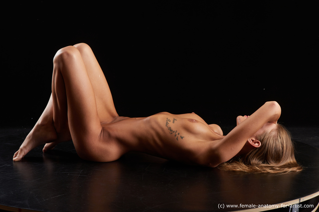 Nude Woman White Laying poses - ALL Underweight Laying poses - on back medium brown Standard Photoshoot