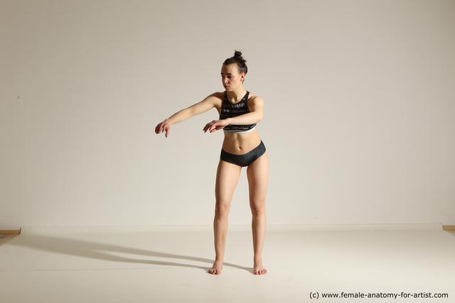 Underwear Woman White Athletic long brown Dancing Dynamic poses
