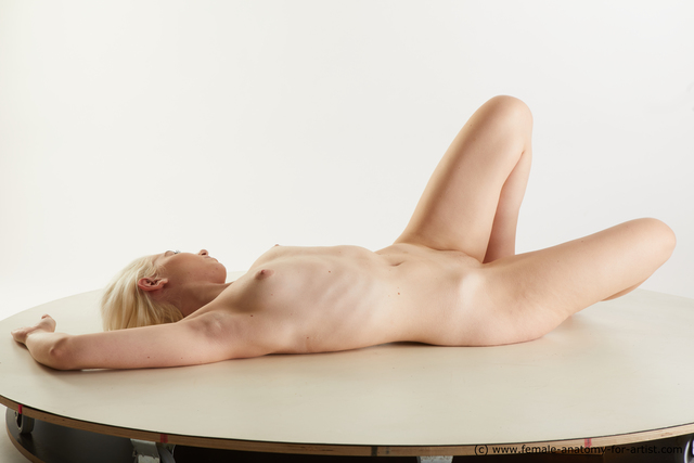 Nude Woman White Slim medium blond Standard Photoshoot