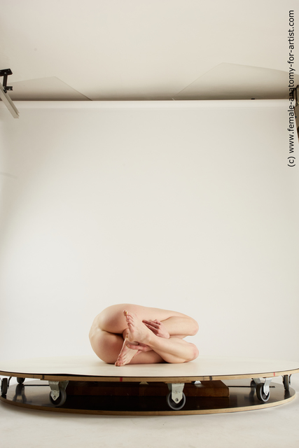 Nude Woman White Laying poses - ALL Slim Laying poses - on back medium brown Multi angle poses