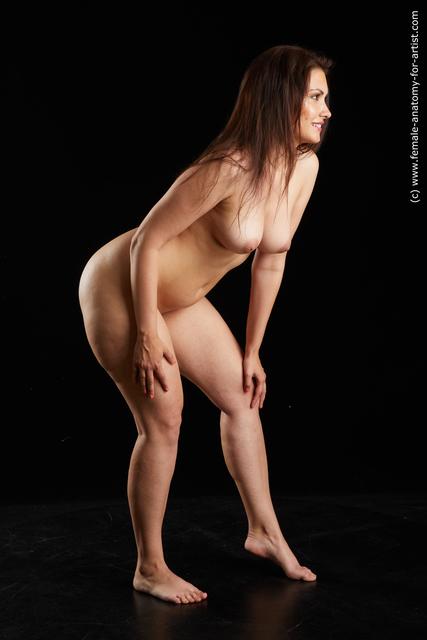Nude Woman White long black Standard Photoshoot Chubby