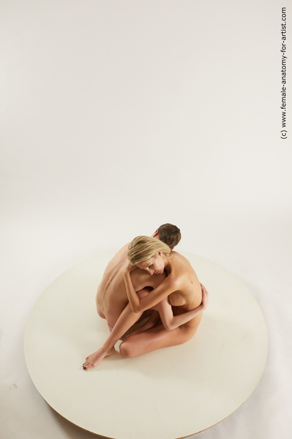 Nude Woman White Sitting poses - ALL Slim medium Sitting poses - simple Multi angle poses