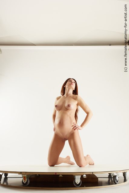 Nude Woman White Pregnant long brown Multi angle poses