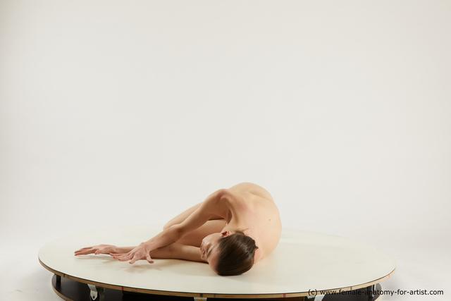 Nude Woman White Slim medium brown Multi angle poses