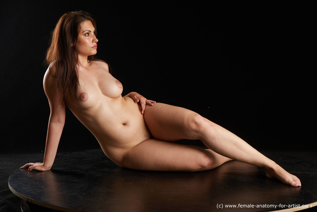 Nude Woman White long brown Standard Photoshoot Chubby