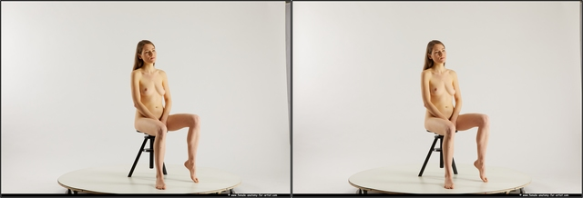 Nude Woman White Sitting poses - ALL Slim long brown Sitting poses - simple 3D Stereoscopic poses