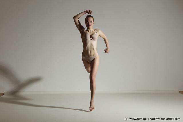 Underwear Woman White Slim medium blond Dancing Dynamic poses