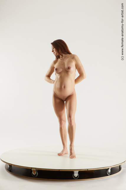 Nude Woman White Standing poses - ALL Pregnant long brown Standing poses - simple Multi angle poses