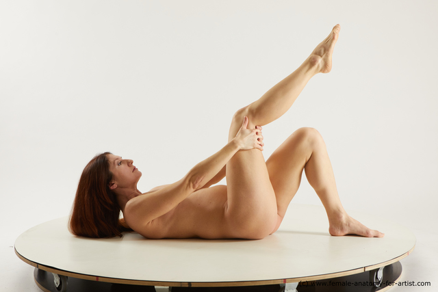 Nude Woman White Laying poses - ALL Pregnant Laying poses - on back long brown Multi angle poses