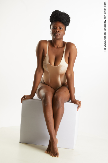 Underwear Woman Black Sitting poses - ALL Average long black Sitting poses - simple Standard Photoshoot