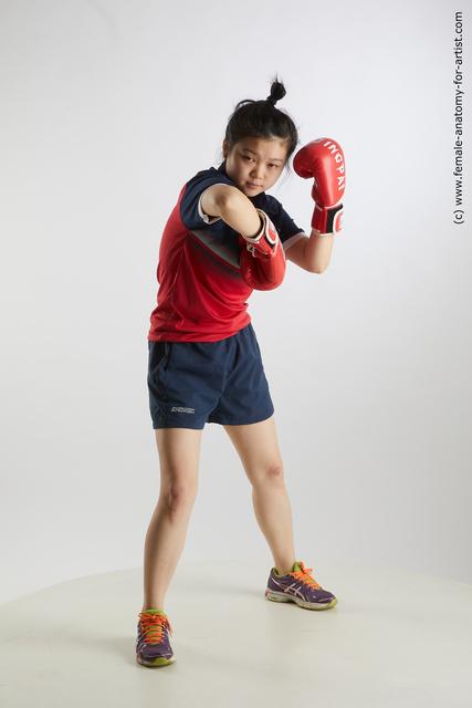 Sportswear Woman Asian Average medium black Fighting Standard Photoshoot