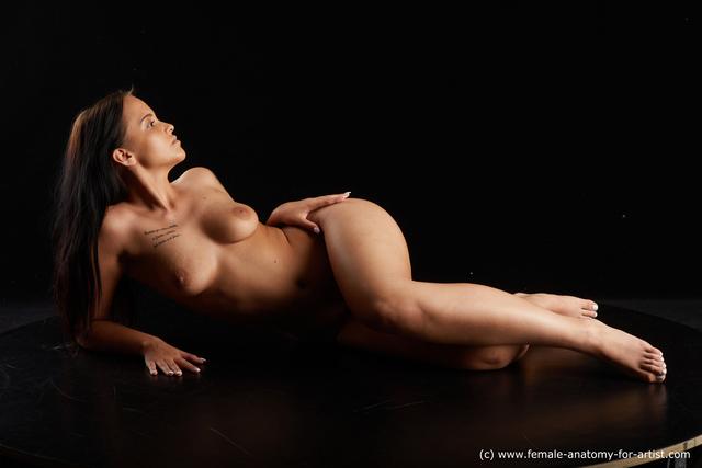 Nude Woman White Average long black Standard Photoshoot