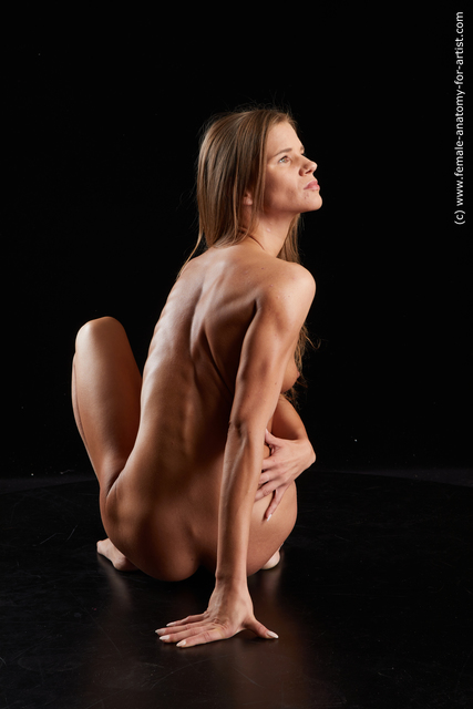 Nude Woman White Kneeling poses - ALL Underweight long brown Standard Photoshoot