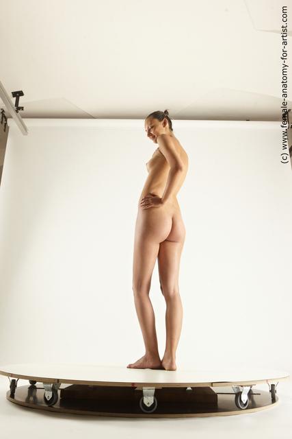 Nude Woman White Pregnant medium brown Multi angle poses