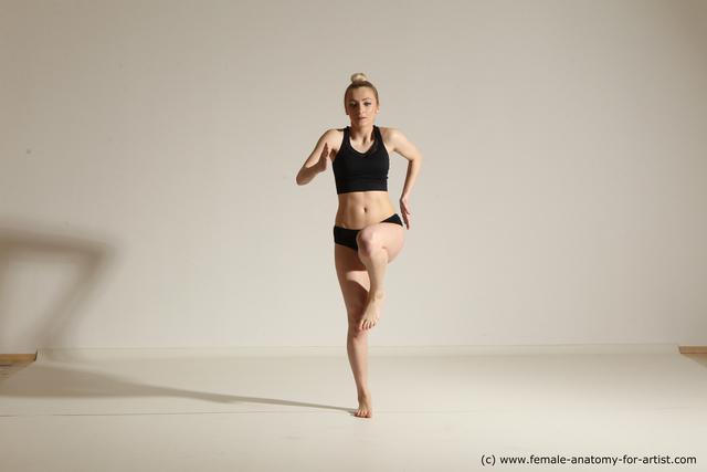 Underwear Woman White Slim long blond Dancing Dynamic poses