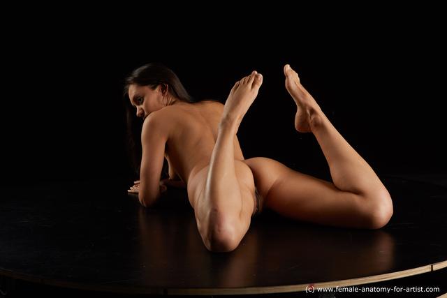 Nude Woman Multiracial Slim long black Standard Photoshoot
