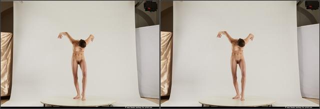 Nude Woman White Slim medium brown 3D Stereoscopic poses